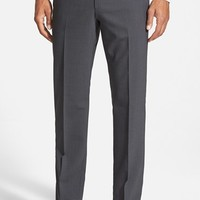 Men's BOSS Flat Front Check Wool Blend Trousers,