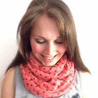 Unique lightweight infinity scarf neck wrap fashion infinity scarf boho fashion accessory pink and brown polka dots