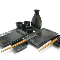 11 PC Black Mist Sushi and Sake Set for Two - An Affordable Elegance