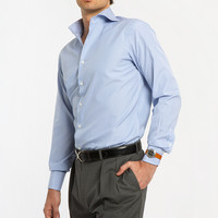 Blue and White Striped Spread Collar Dress Shirt - Athletic Fit
