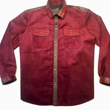 KASHANI Alligator Deep Wine Suede Button Up Shirt