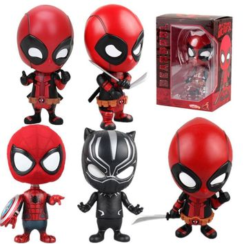 Marvel 13styles 10cm Deadpool Figure Bobble-Head 1/10 scale painted Deadpool spider man Black Panther Doll PVC action figure toy