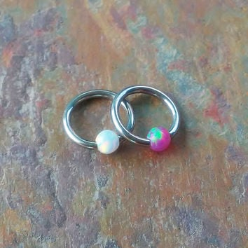 Sale........316L stainless steel 16g opal captive ring helix, cartilage, tragus earring