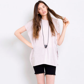 Pink women's tunic top Square shape Loose Fitting Oversized basic tee