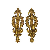 Wall Sconce Pair Candle Holders Set Ornate Baroque Rococo Gold Hollywood Regency French Style Fleur De Lis Flower Vintage Home Decor