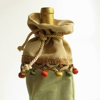 Wine Gift Bag of Muted Gold and Green with Tassels Hostess gift