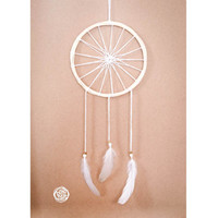 Dream Catcher - White Star - With Unique Star Shaped Web and Pure White Feathers - Boho Home Decoration, Nursery Mobile