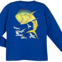 Guy Harvey Bull Dolphin Long Sleeve Boys Tee Shirt in Red, White or Royal