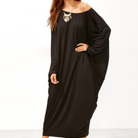 Black Boat Neck Dolman Sleeve Dress