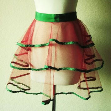 Tulle in Vintage-Hostess-Apron-Custom Made Apron-Red Netted-Apron-Green-Red-Half Apron-Ruffle-Mad Men-Apron