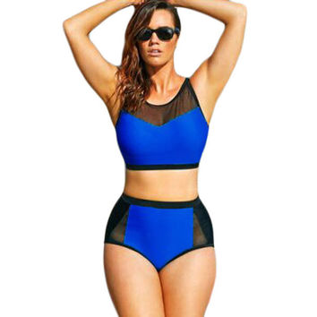 Hot Summer Swimsuit New Arrival Beach Sexy Mosaic High Rise Plus Size Bottom & Top Bikini [4919265092]