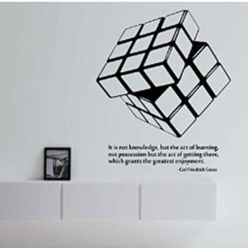 Rubiks Cube Wall Decal Vinyl Art Home Decor Education Puzzle with Quote