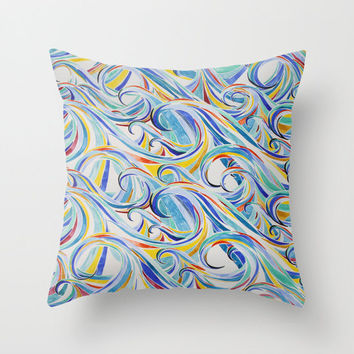 """Watercolor Waves Throw Pillow Cover - choice of size 16"""", 18"""" or 20"""" square cushion cover with hidden zipper"""