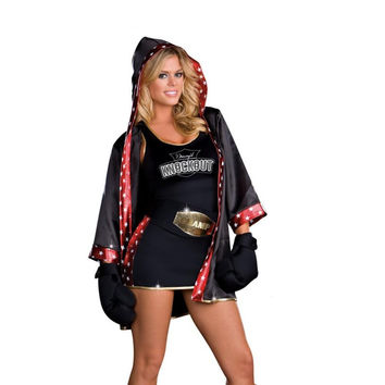 Dreamgirl Womens Total Knock Out Boxer Halloween Party Costume Set