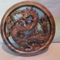 Dragon Wall Plaque, Vintage Wood Carved Decorative Hanging, Good Fortune in Health, Wealth, Long Prosperous Life, Sign of Protection