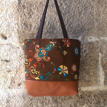 Floral Tote, Large Diaper Vegan Leather Bag, Gift for Mom, Gift for Her, Flower Bohemian Handbag , Cute Summer bag, Hand Printed zipper Bag