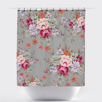 Gray Rose Shabby Chic Floral Shower Curtain