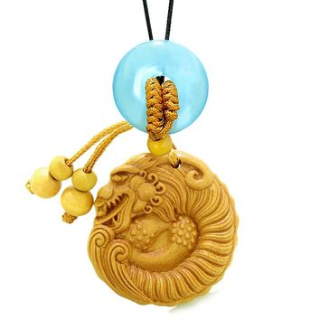 Magical Courage Dragon Car Charm Home Decor Blue Simulated Cats Eye Donut Protection Powers Amulet