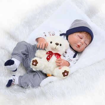 Nicery 22inch 55cm Bebe Reborn Doll Hard Silicone Boy Girl Toy Reborn Baby Doll Gift for Children White Black Cloth Baby Doll