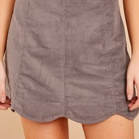 What A Girl Wants Grey Corduroy Skirt
