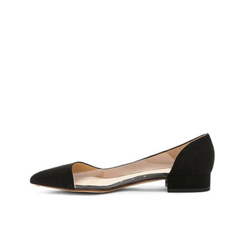 FRANCESCO RUSSO Suede & PVC Flats in Black | FWRD
