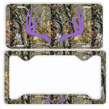 Purple Antlers Camo Deer License Plate Frame Car Tag Country Hunting