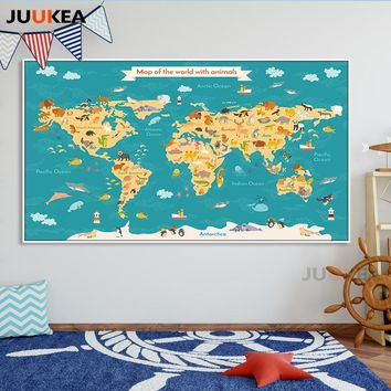 Children Kawaii Cartoon Animals World Map Canvas Print Painting Poster Nordic Wall Art Wall Pictures For Kids Room Home Decor
