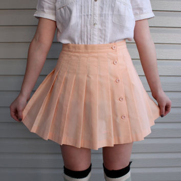 vintage 1980s 1990s Peach Pink n Pleated Mini by vicethighvintage