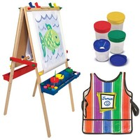 Melissa & Doug Deluxe Standing Easel with Artist's Smock and Spill Proof Paint Cups