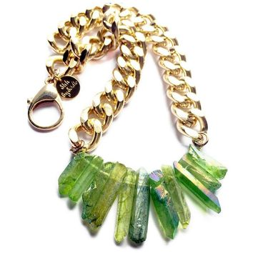 Rocked Up Crystal Quartz Necklace (Green)