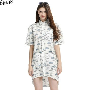 Women White Contrast Cartoon Print Dip Back Short Sleeve Button Up Cute Shirt Dress Summer Side Pockets Plus Size Clothing
