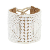 Round Beaded Leather Bracelet