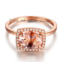Oval Morganite Engagement Ring Pave Diamonds Cushion Halo14K Rose Gold 6x8mm