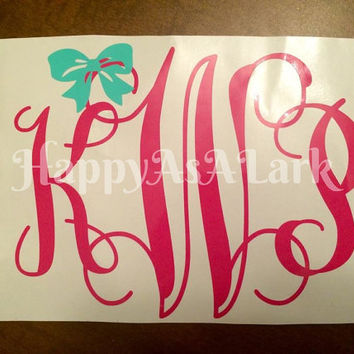 Custom/Personalized Monogram Vinyl Car Window Decal With Bow