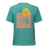 Women's Short Sleeve Bottle Source Red Box Tee in Bristol Blue by The North Face