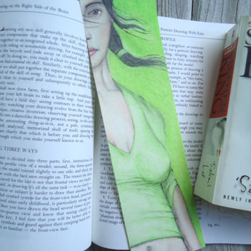 Original artwork Bookmark - Original artwork - Pencil drawing - Female drawing - College bookmark - Card gift - Artwork - Gift for readers