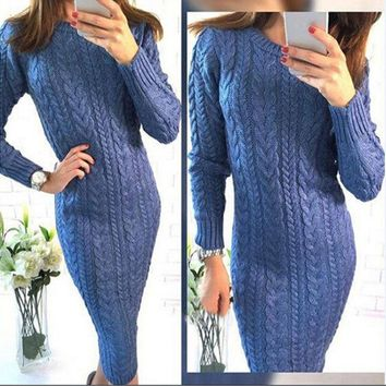PEAPIX3 Round-neck Long Sleeve Sweater One Piece Dress [9456552964]