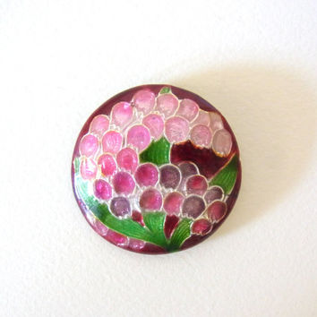 brooch / cloisonne jewelry / vintage japanese jewelry /purple flower / vintage cloisonne brooch / vintage brooch / lily of the valley pink