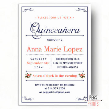 Coral Quinceanera Invitation Printable // Quinceanera Invites // Quincenera Invitations // Quincenera Invites // Coral Quincenera
