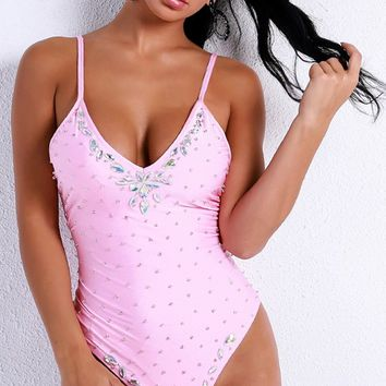 Catch A Wave Pink Rhinestone Spaghetti Strap Plunge V Neck Brazilian One Piece Swimsuit