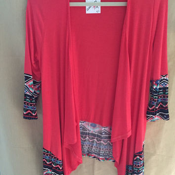 Coral Cardigan with Aztec Sleeve