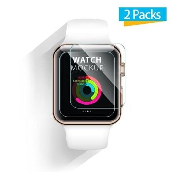 42mm Apple Watch Screen Protector - iXCC 0.3mm [2 Pack] Tempered Glass Screen Protector, Anti-bubble, Scratch Resistant [Only Covers the Flat Area]