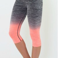 Yoga Legging Cropped - Black/Coral