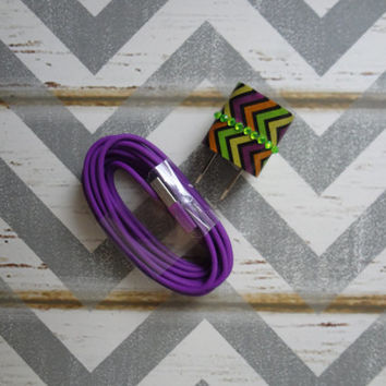 New Super Cute Jeweled Multi Colored Zig Zag Design Wall iphone 5,5s Charger + 10ft Purple Cable Cord VALENTINES DAY