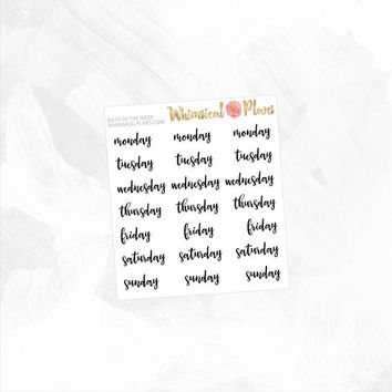 Days of the Week - Clear Matte Glossy Planner Stickers - Black Script Text Clear Stickers Planner Inserts Simple Classic Typography Mon Sun
