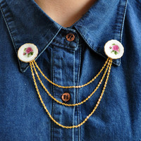 Collar Tip Brooch - Pink Miniature Ceramic Dishes with Golden Chain