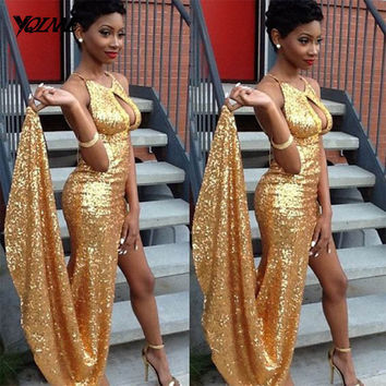 Sexy Gold Lace Sequins Mermaid Prom Dresses Party Evening Gown Formal Dress Halter Split Court Train Vestido De Festa