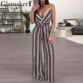 Glamaker Flower print sexy autumn jumpsuit romper Women deep v neck stripe long playsuit Boho beach jumpsuit female overalls
