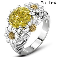 Women Sunflower Fashion Ring 542