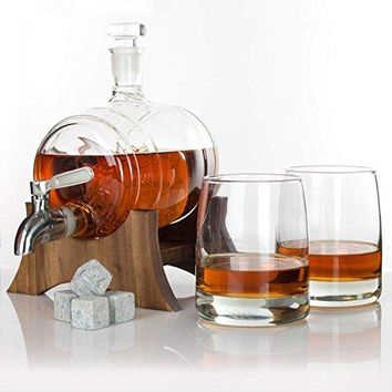 Atterstone Barrel Whiskey Decanter Set  with two Whiskey Glasses, Whiskey Stone Set, Stainless Steel Dispenser and funnel